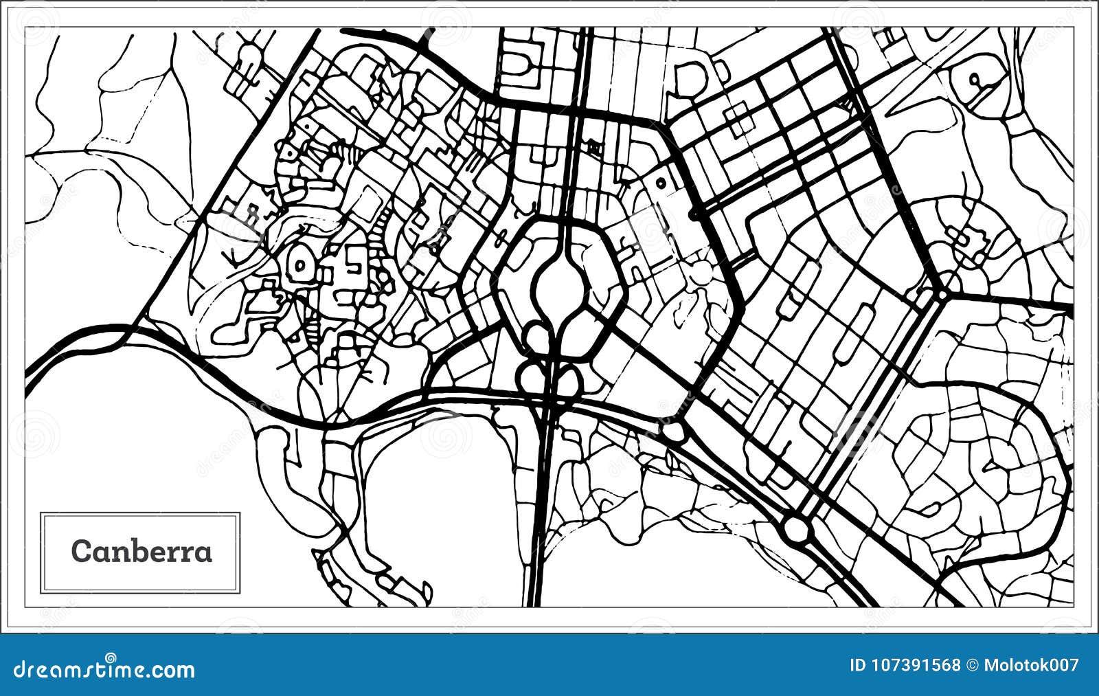 堪培拉澳大利亚在黑白颜色的市地图