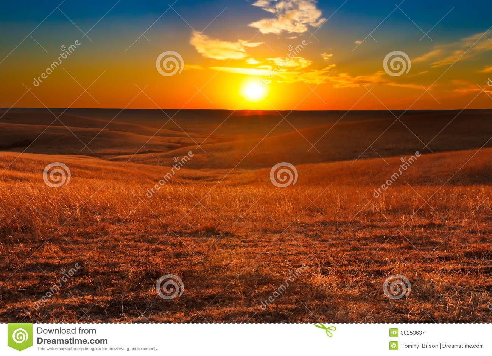 堪萨斯日落火石小山