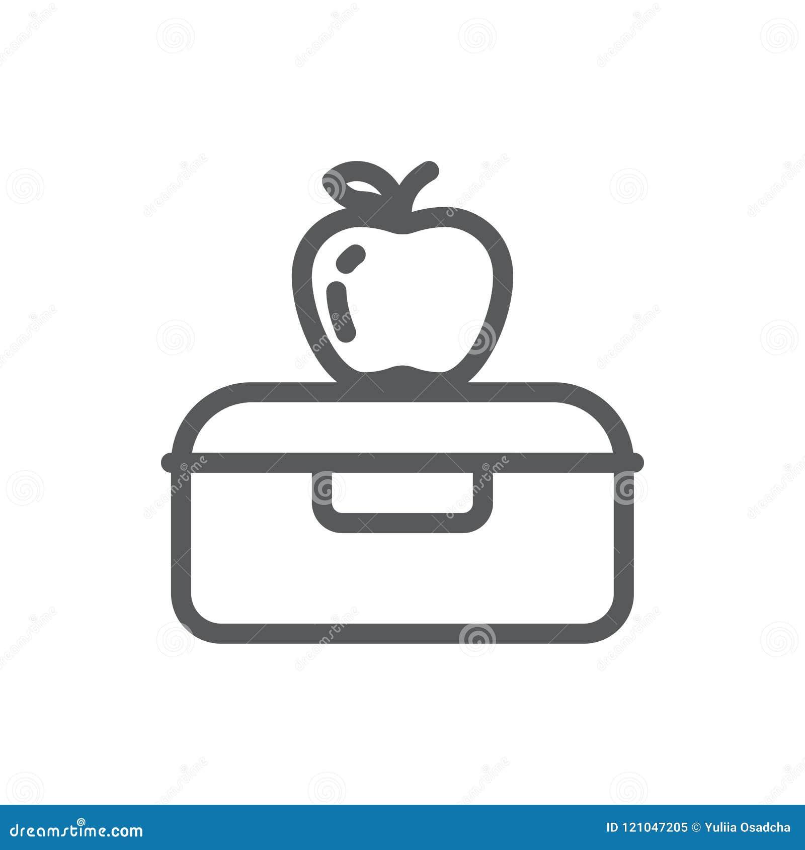 塑料午餐盒用学校或工作健康断裂映象点完善的线的象苹果与编辑可能的冲程