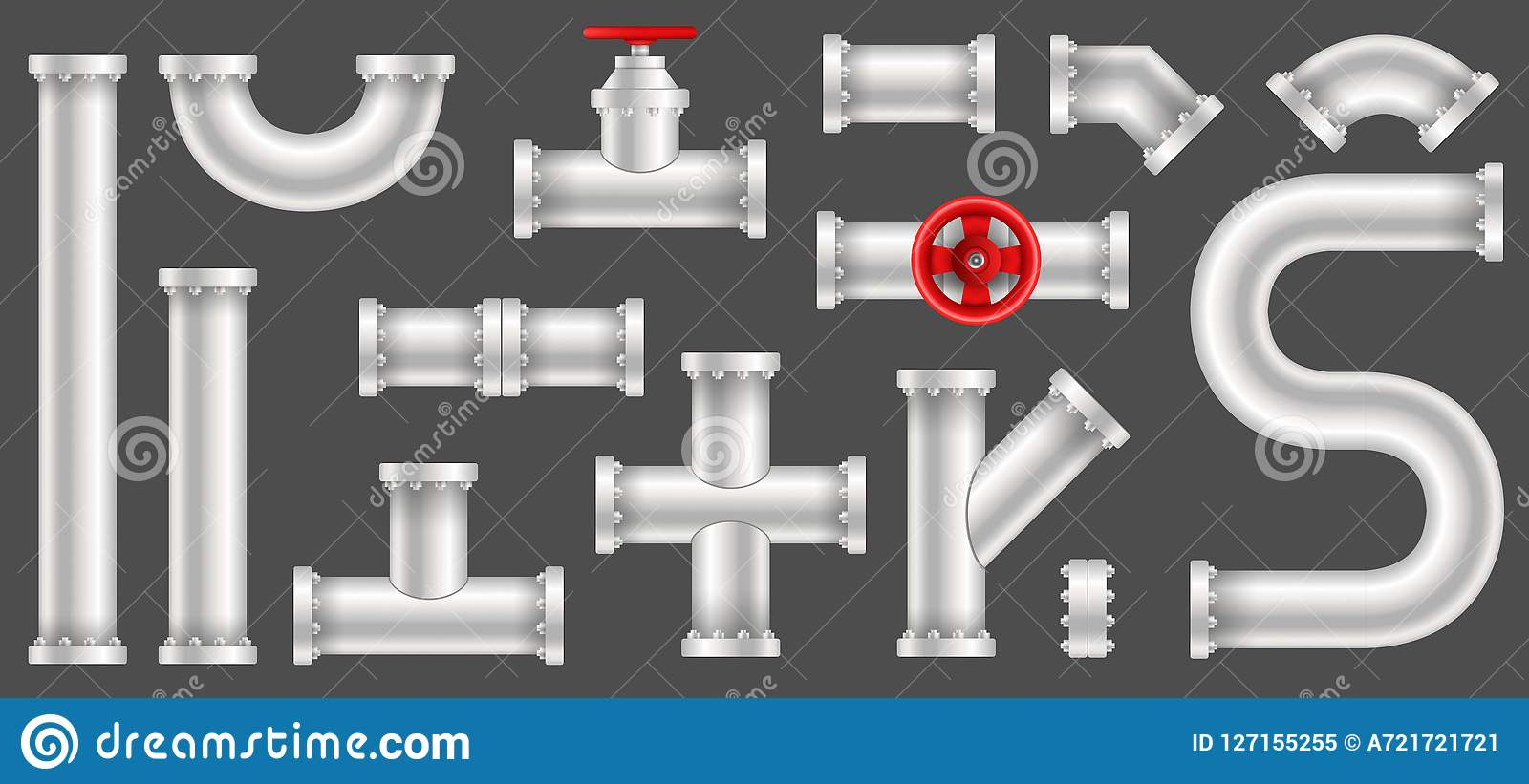 塑料水,油,气体管道的创造性的传染媒介例证,用管道输送在透明背景隔绝的污水 艺术