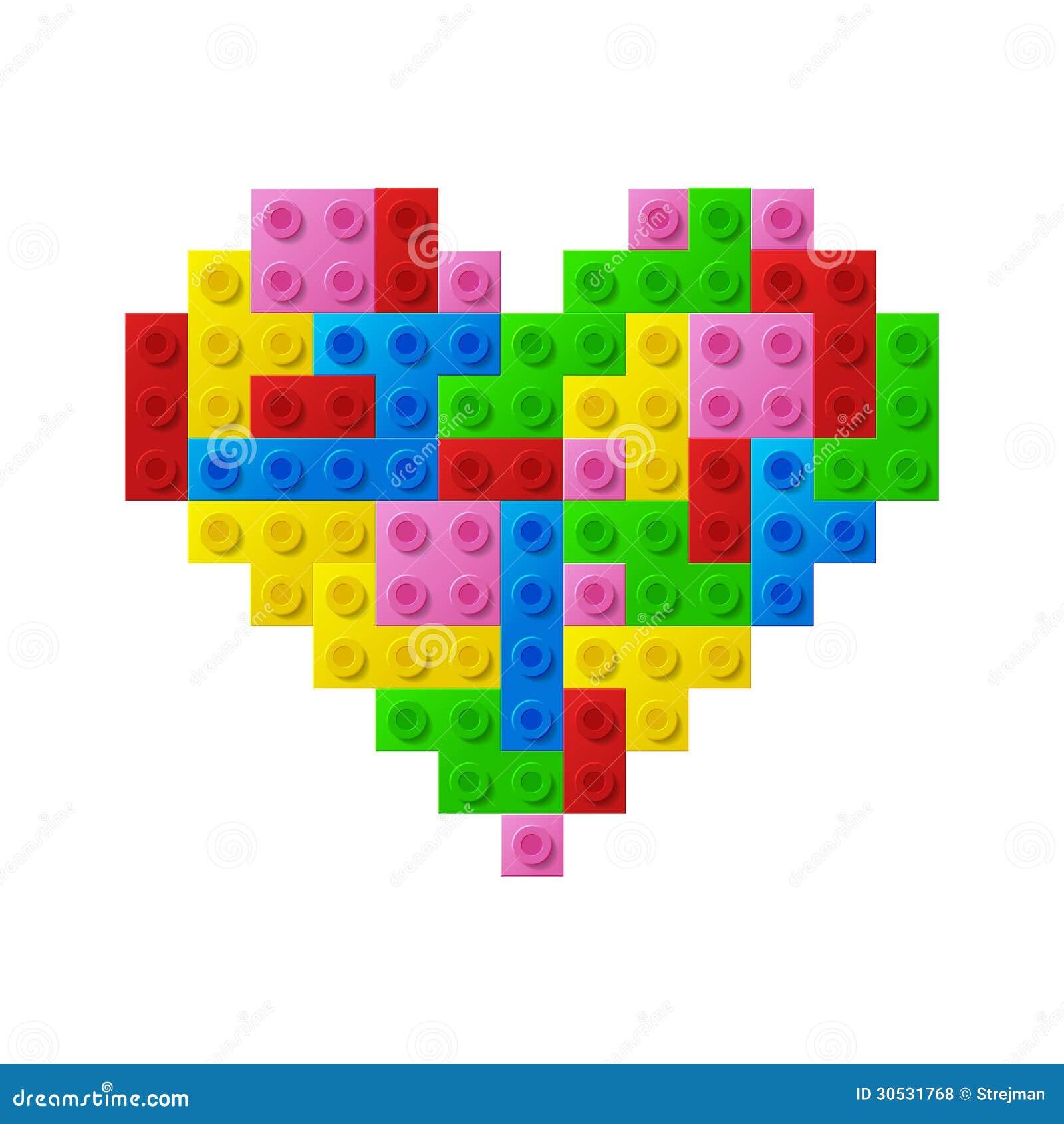 从塑料玩具块的心脏。