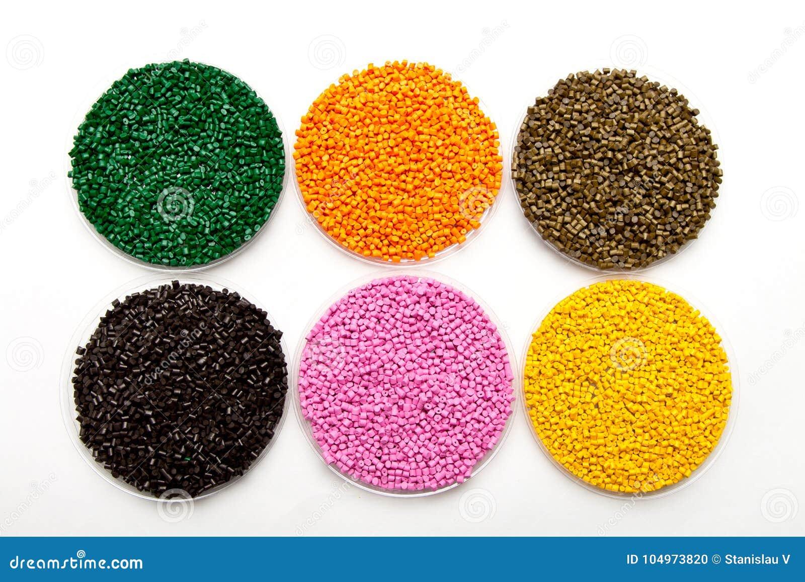 塑料药丸 聚合物的染料在粒子