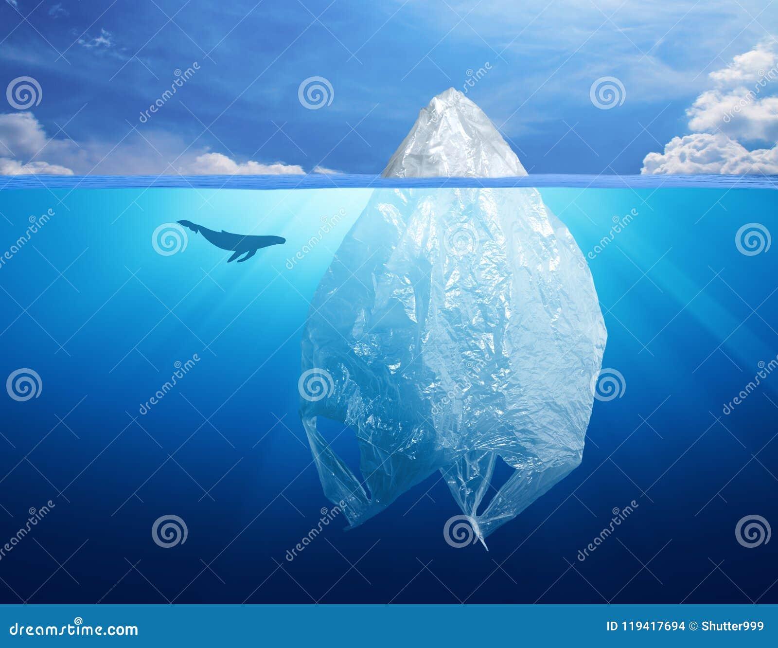 塑料袋与冰山的环境污染