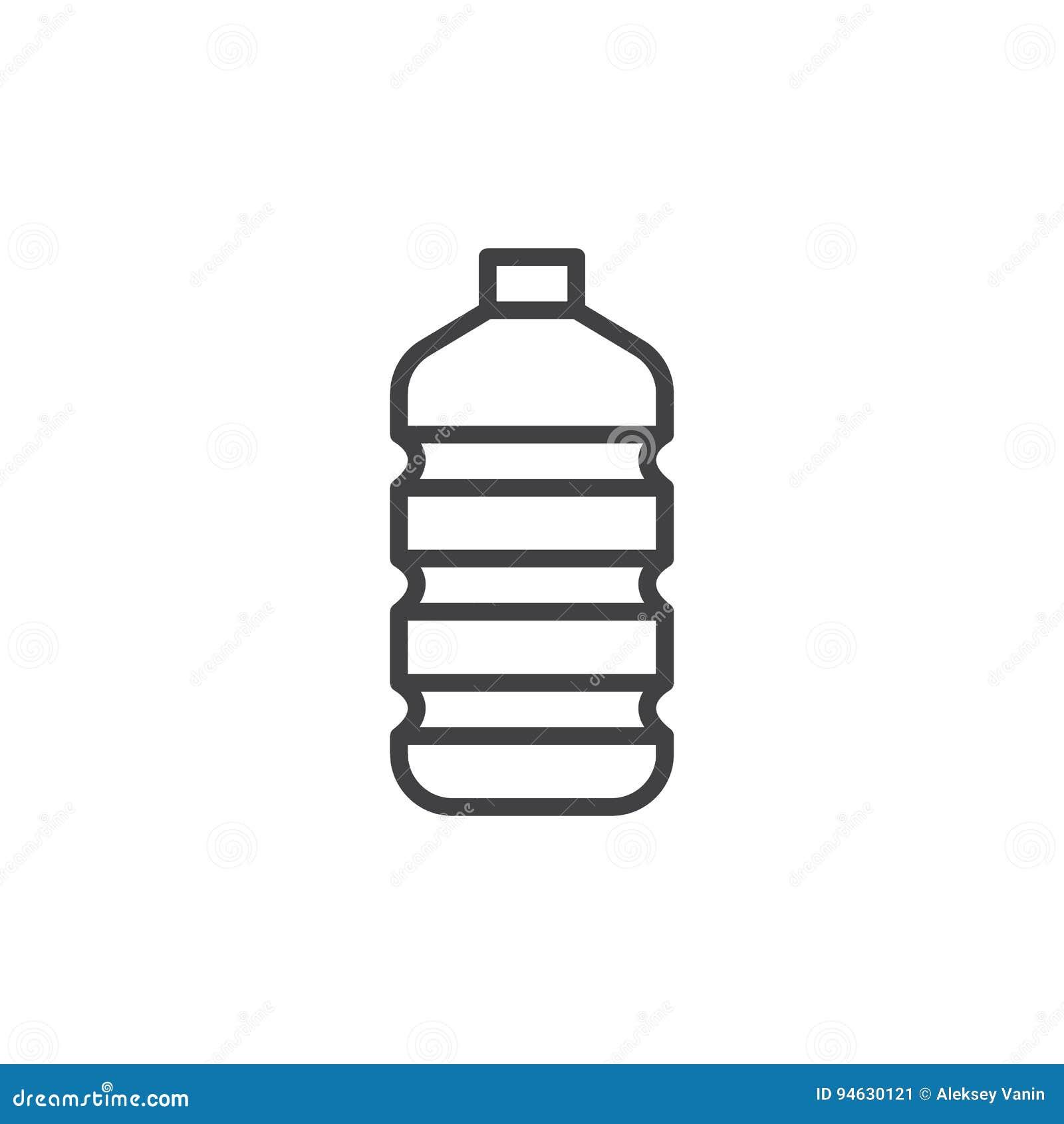 塑料水瓶线象,概述传染媒介标志,在白色隔绝的线性样式图表