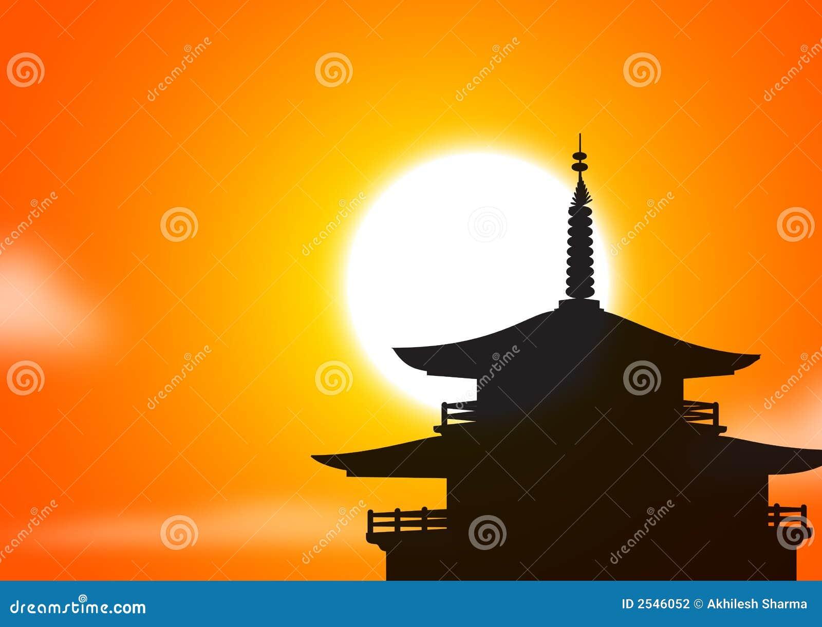 塔silhoutte日落