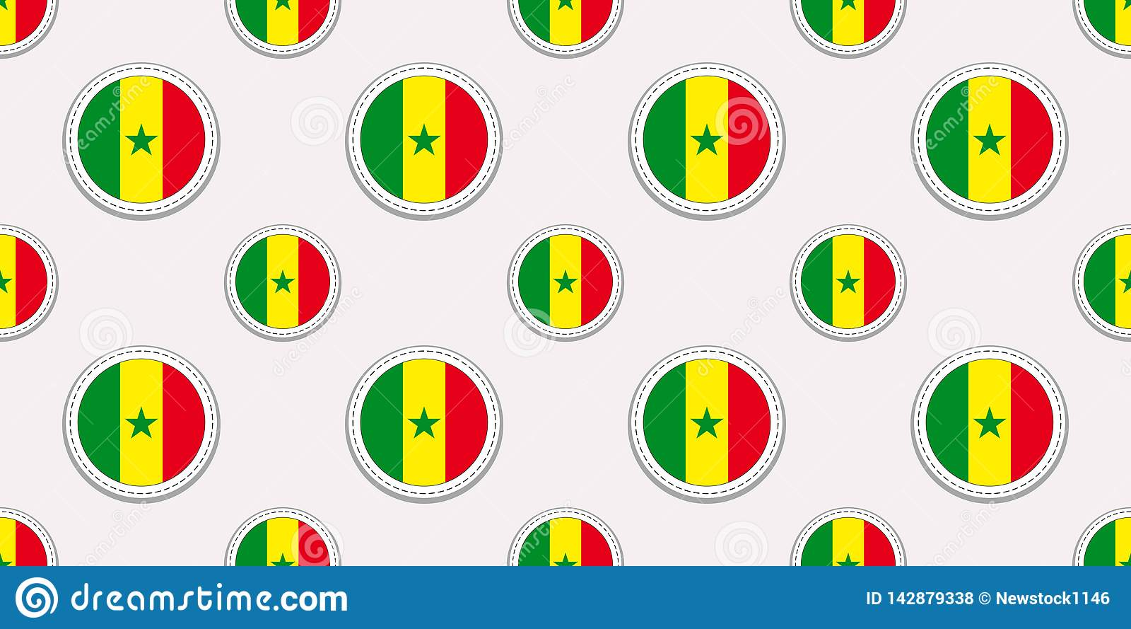 塞内加尔回合旗子无缝的样式 塞内加尔背景 传染媒介圈子象 几何标志贴纸 纹理为