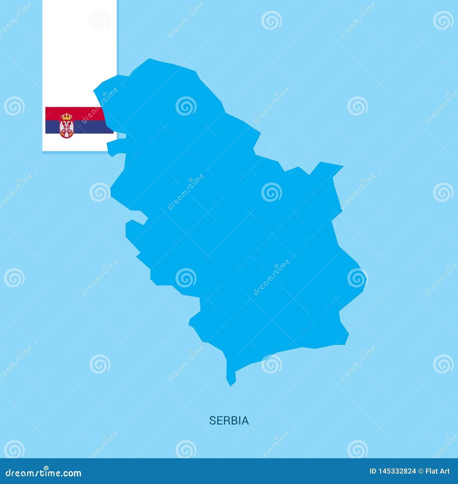 塞尔维亚与旗子的国家地图在蓝色背景
