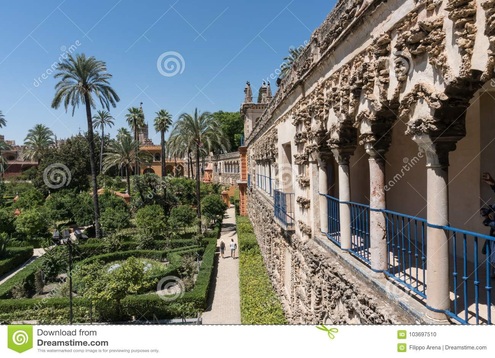 塞维利亚安达卢西亚,西班牙真正的城堡庭院