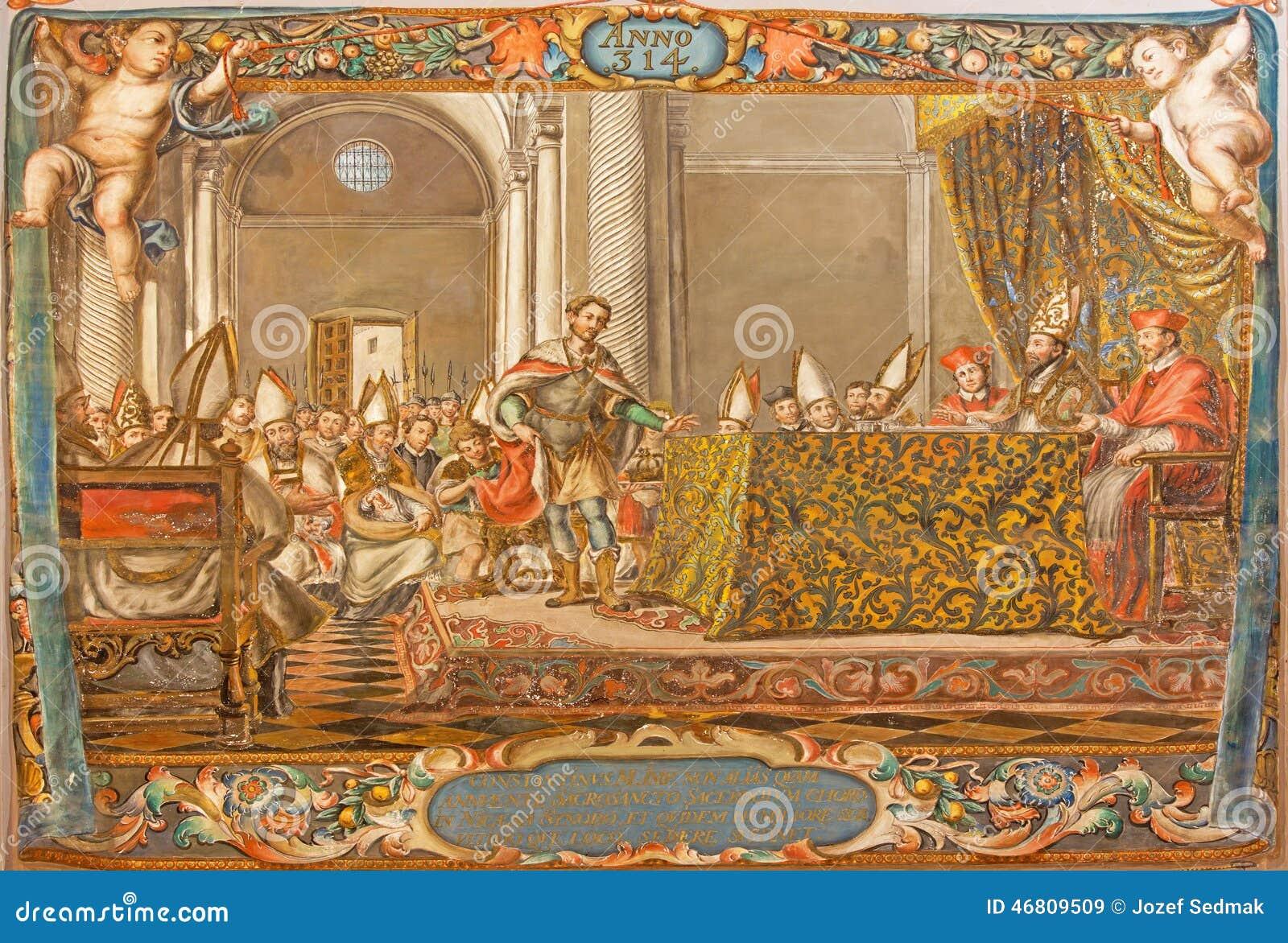 塞维利亚-场面壁画作为皇帝康斯坦丁的在尼西亚(325)发表演讲关于理事会在教会Hospital de los Venerables里