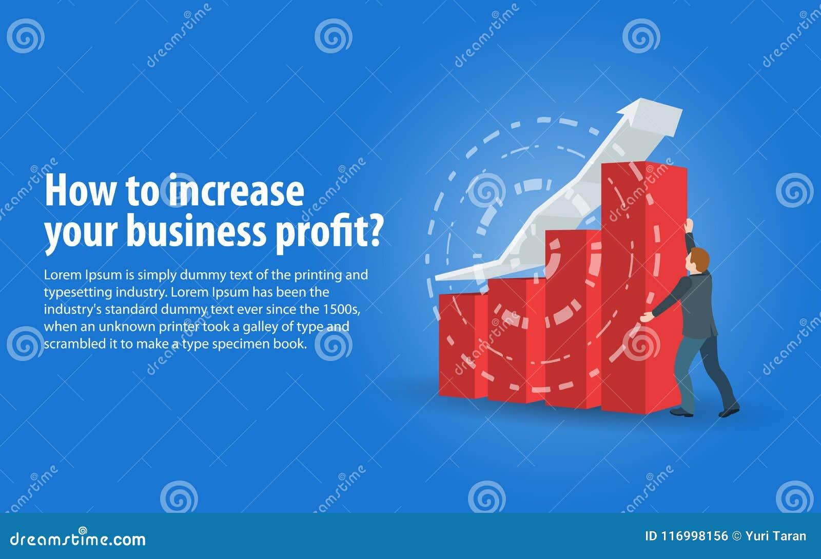 增加营业利润 在一个平的3d样式的横幅 销售成长和收支,业务发展 一个人在西装hol中