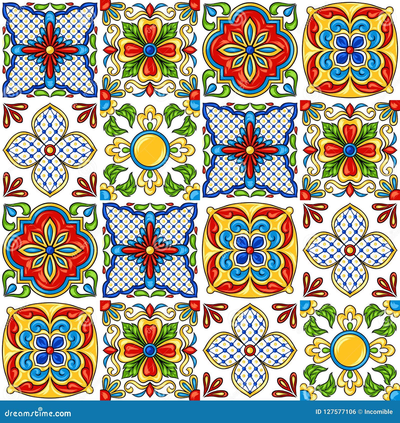墨西哥人塔拉韦拉陶瓷砖样式