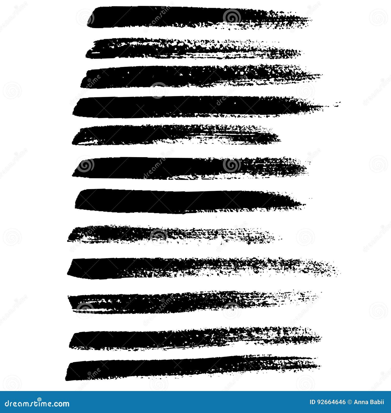 墨水传染媒介被设置的刷子冲程 也corel凹道例证向量 难看的东西手拉的水彩纹理