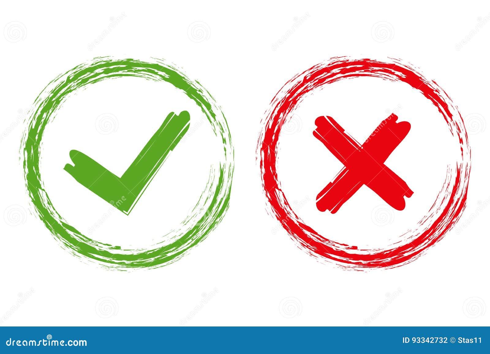 壁虱和十字架刷子标志 好绿色的检查号和红色X象,隔绝在白色背景 简单的标记图形设计 符号