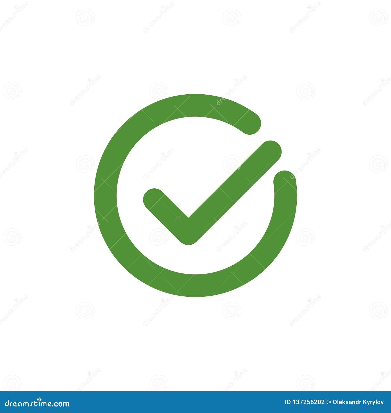 壁虱标志元素 在白色背景隔绝的绿色检查号象 简单的标记图形设计 也corel凹道例证向量