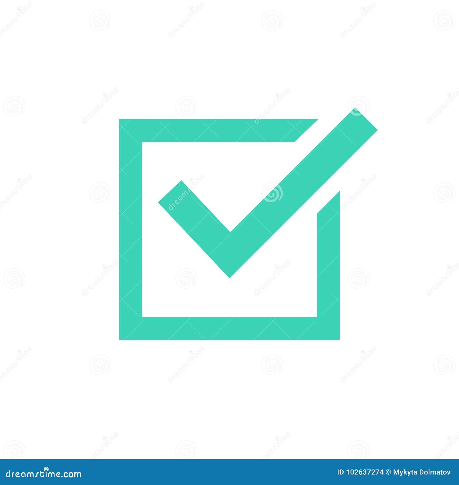 壁虱象标志、在白色背景隔绝的绿色检查号,被检查的象或者正确挑选标志