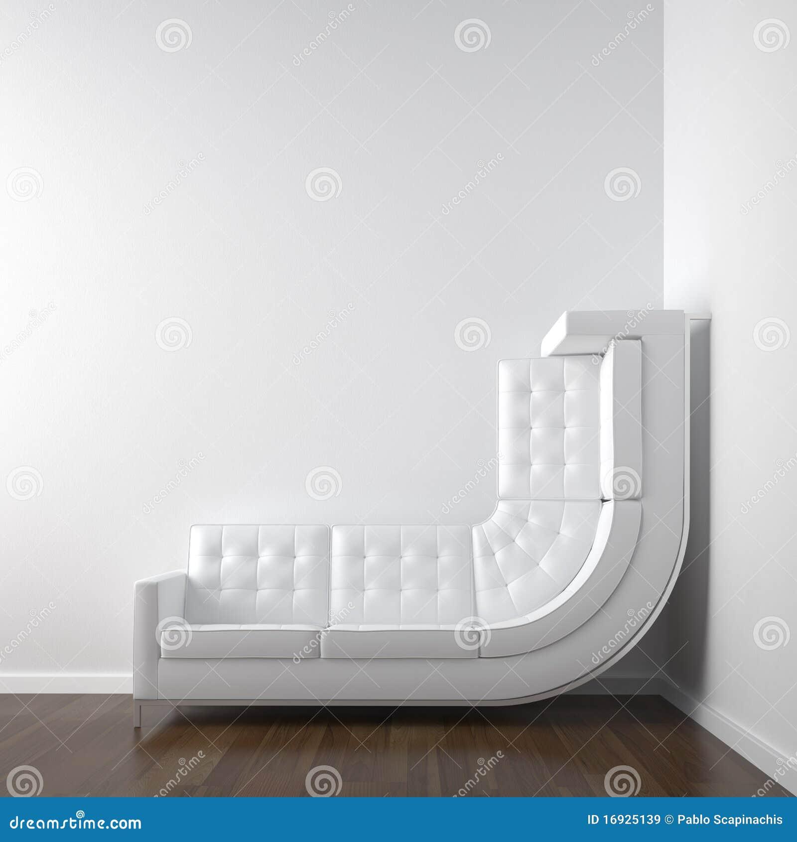 壁角长沙发空间白色