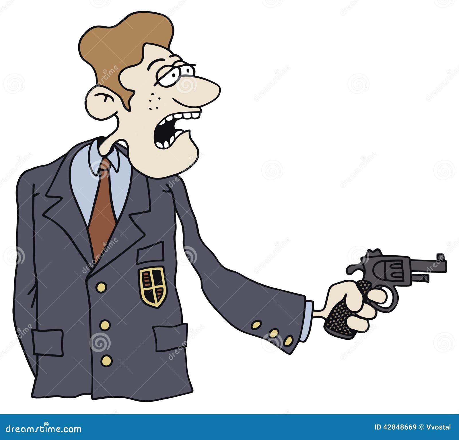 递一个绅士的图画有枪的在他的手上.