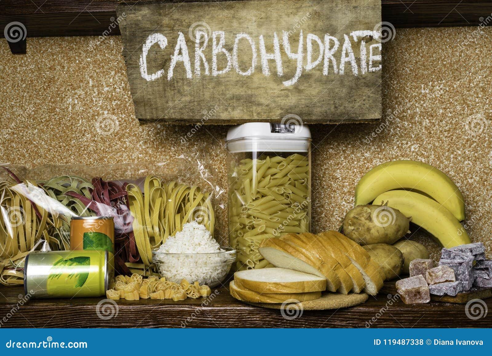 复杂碳水化合物的产品富有 食物最高在碳水化合物 健康饮食吃概念 快速和慢碳水化合物