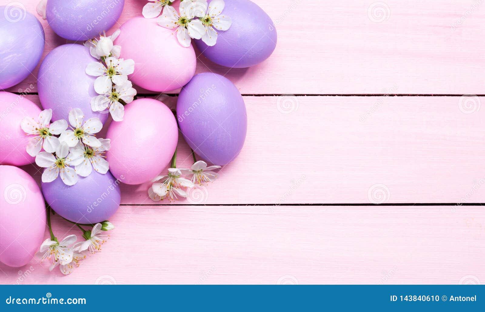 复活节彩蛋和白花在桃红色木桌上的樱花