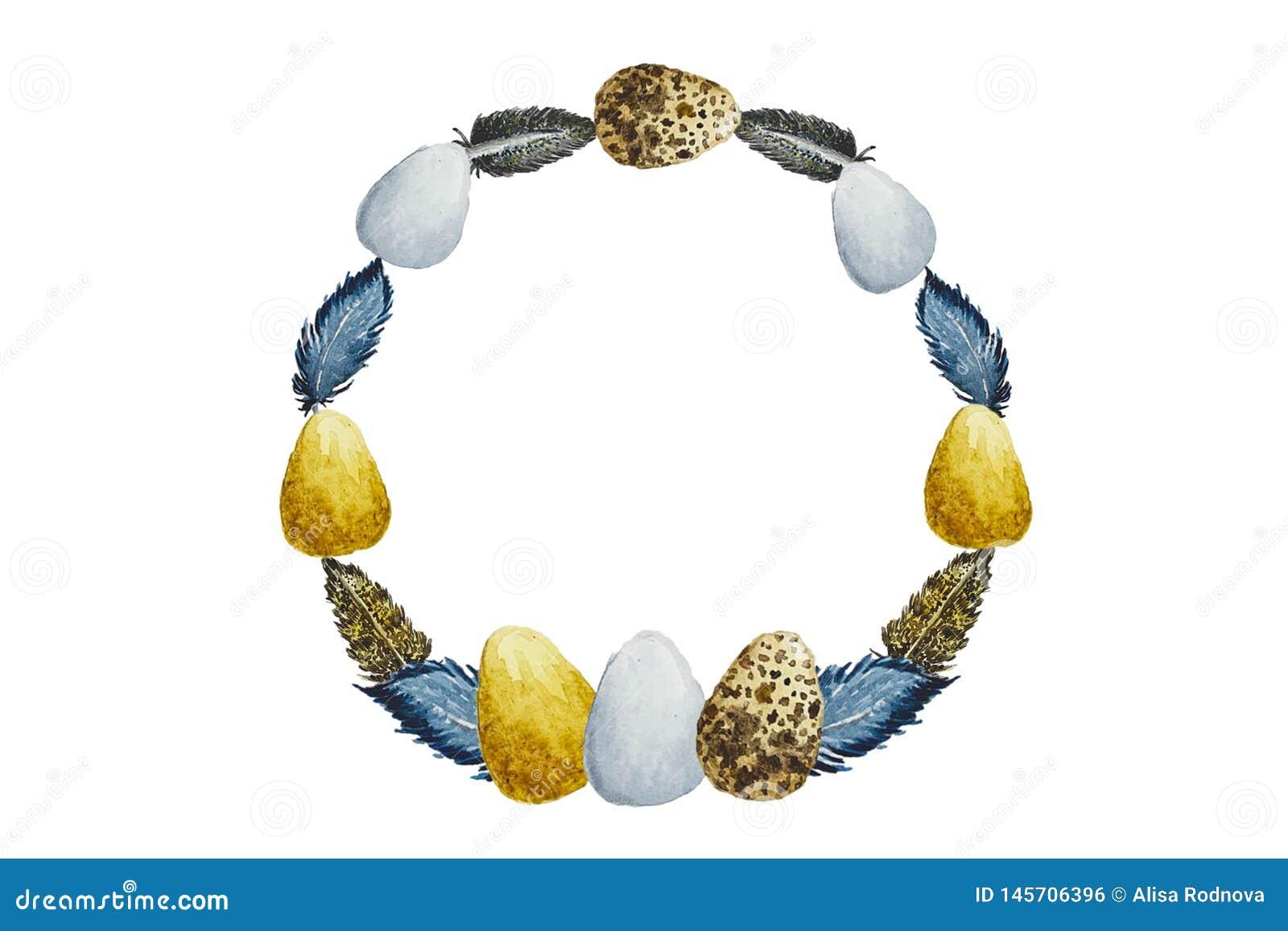 复活节彩蛋水彩框架构成