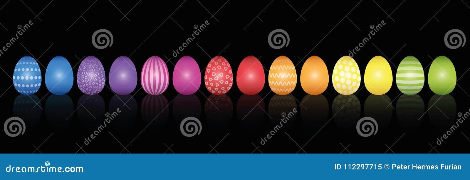 复活节彩蛋黑样式的彩虹色