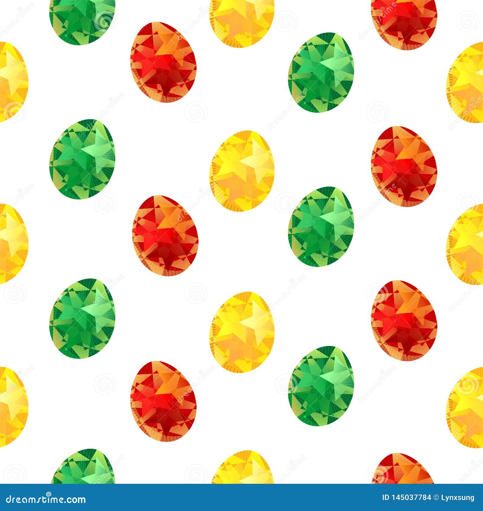 复活节无缝的样式用五颜六色的被绘的鸡蛋,春天假日,织物印刷或背景的,墙纸,广告,横幅
