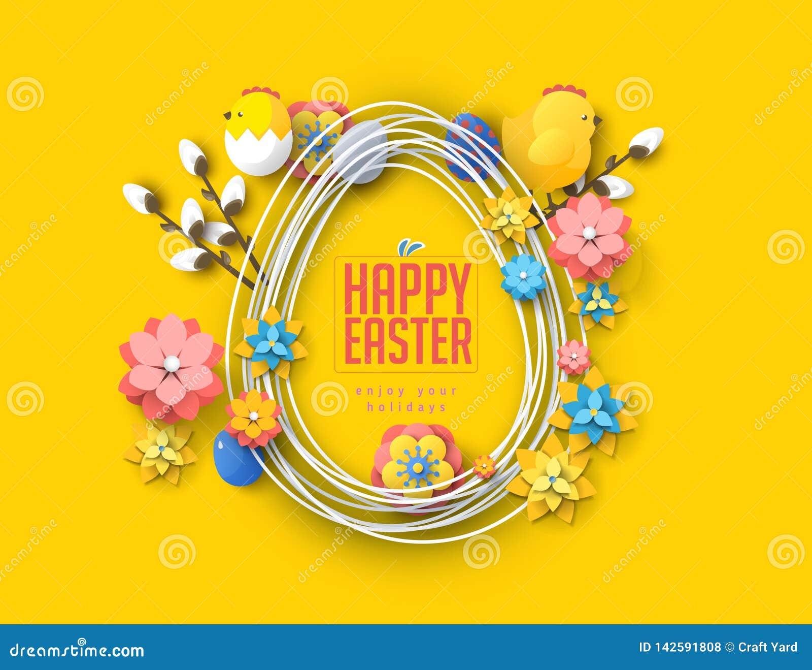 复活节概念横幅飞行物五颜六色的蛋兔子抽象背景纹理