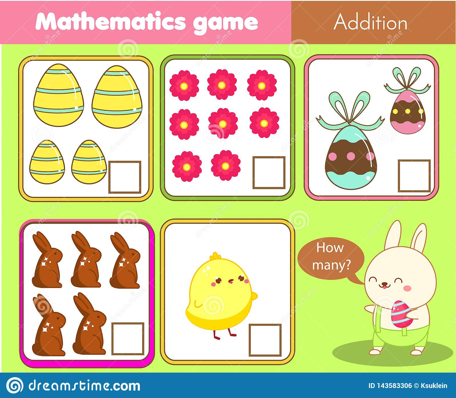 复活节活动 计数教育儿童比赛 孩子和小孩的数学活动 多少个对象 研究算术,