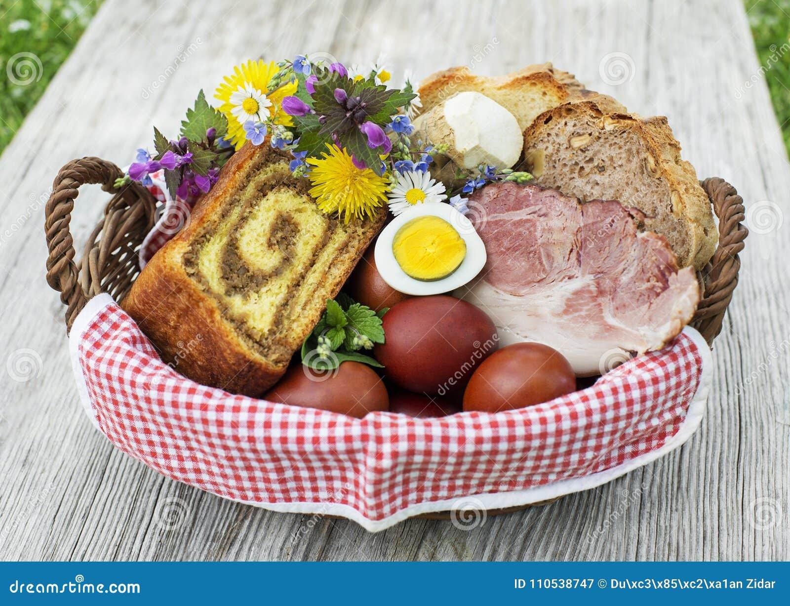 复活节食物篮子用鸡蛋和火腿
