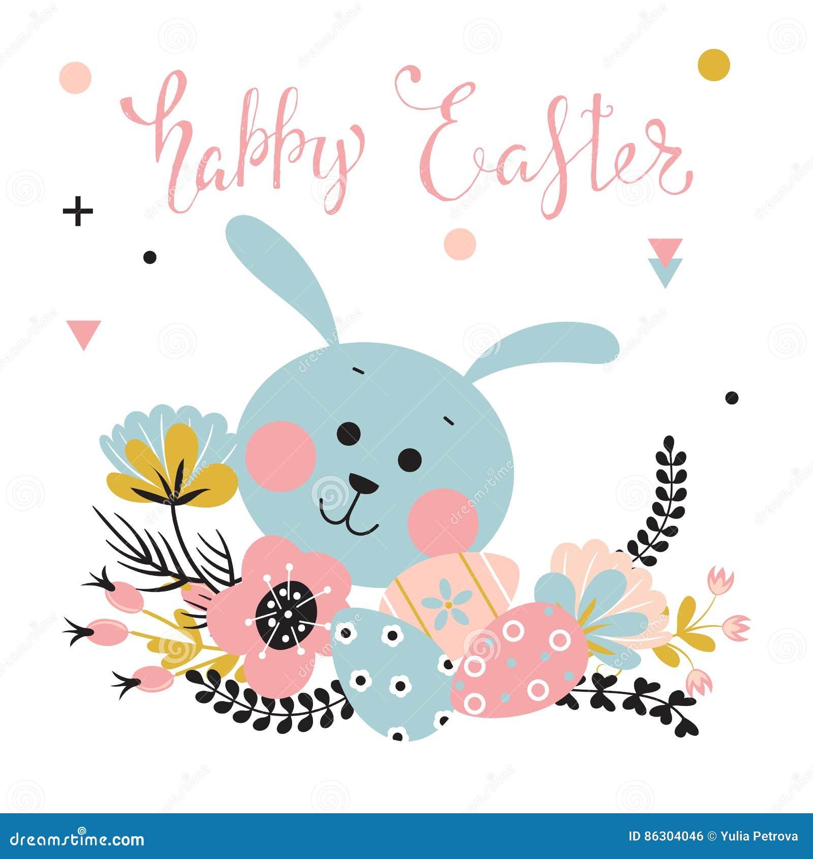 复活节兔子、花和鸡蛋