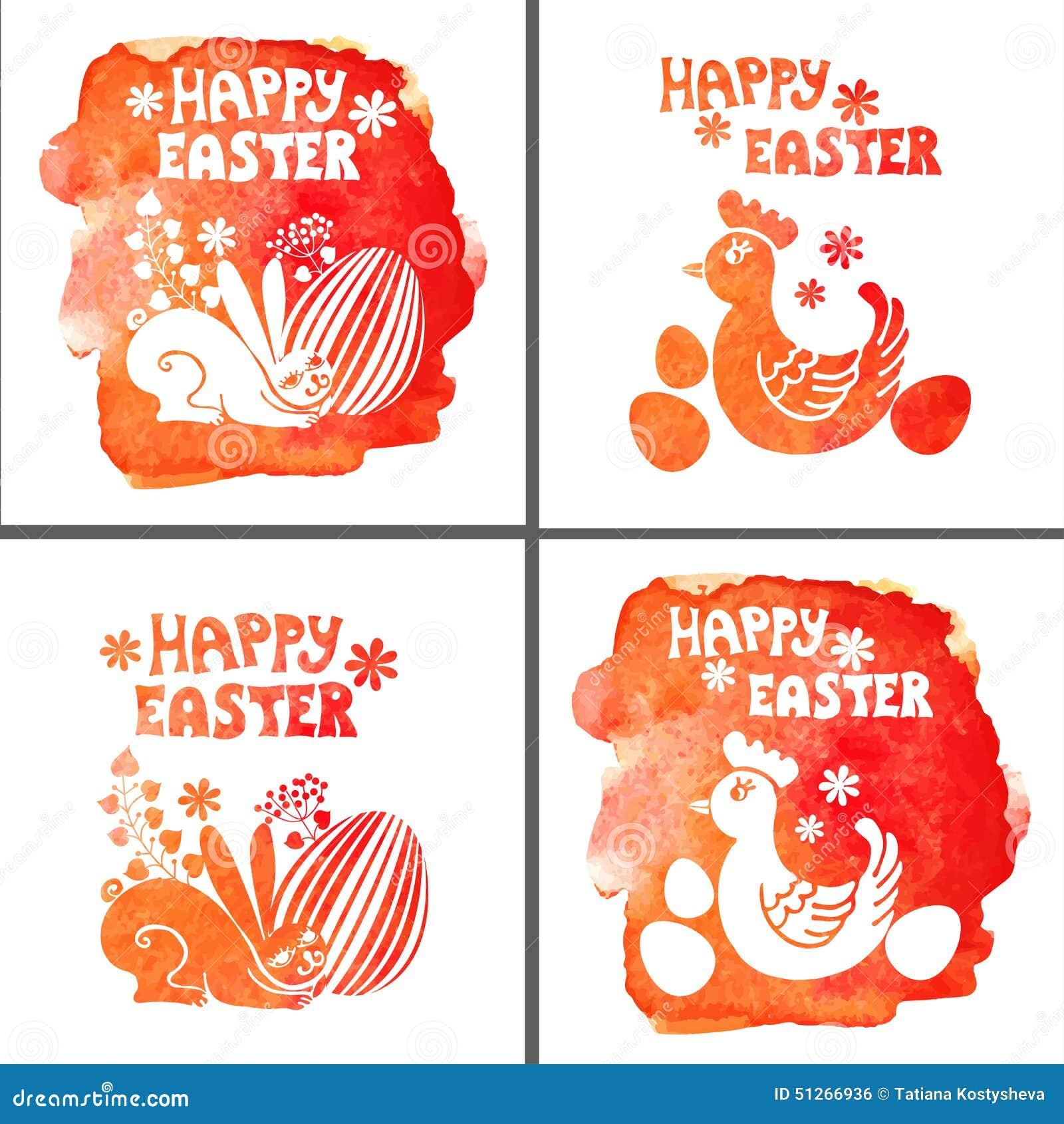 复活节卡集 水彩邮票,兔子,鸡蛋