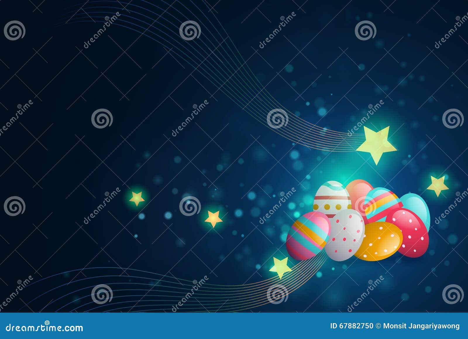复活节彩蛋和星在深蓝背景