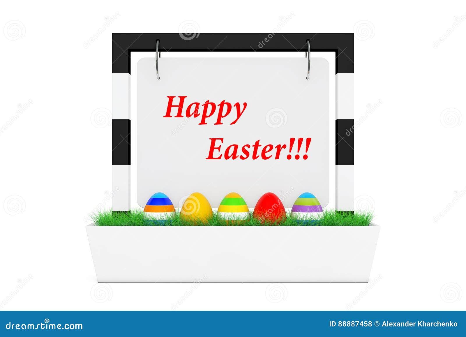 复活节彩蛋行在室外横幅书桌显示的与愉快的Eas