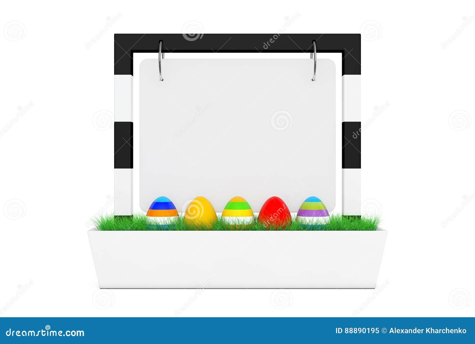 复活节彩蛋行在空白的室外横幅书桌显示的与Gra