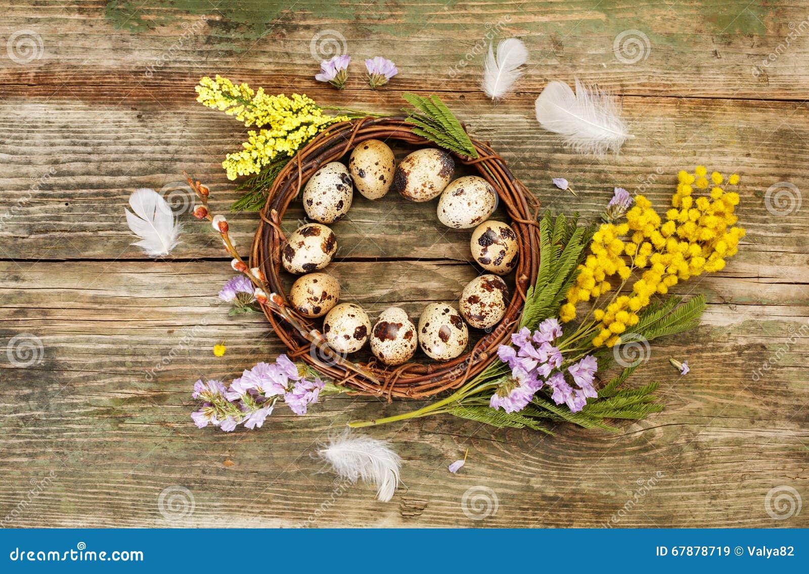 复活节花圈和花