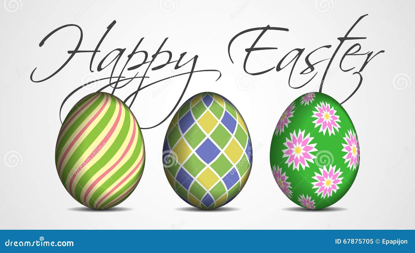 复活节贺卡-三个色的鸡蛋