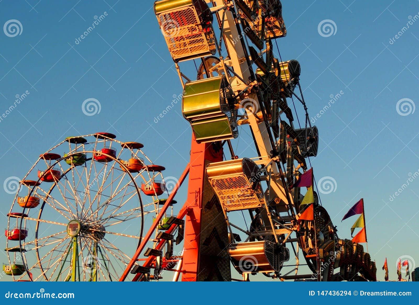 夏令时,弗累斯大转轮,日落,乐趣,市场