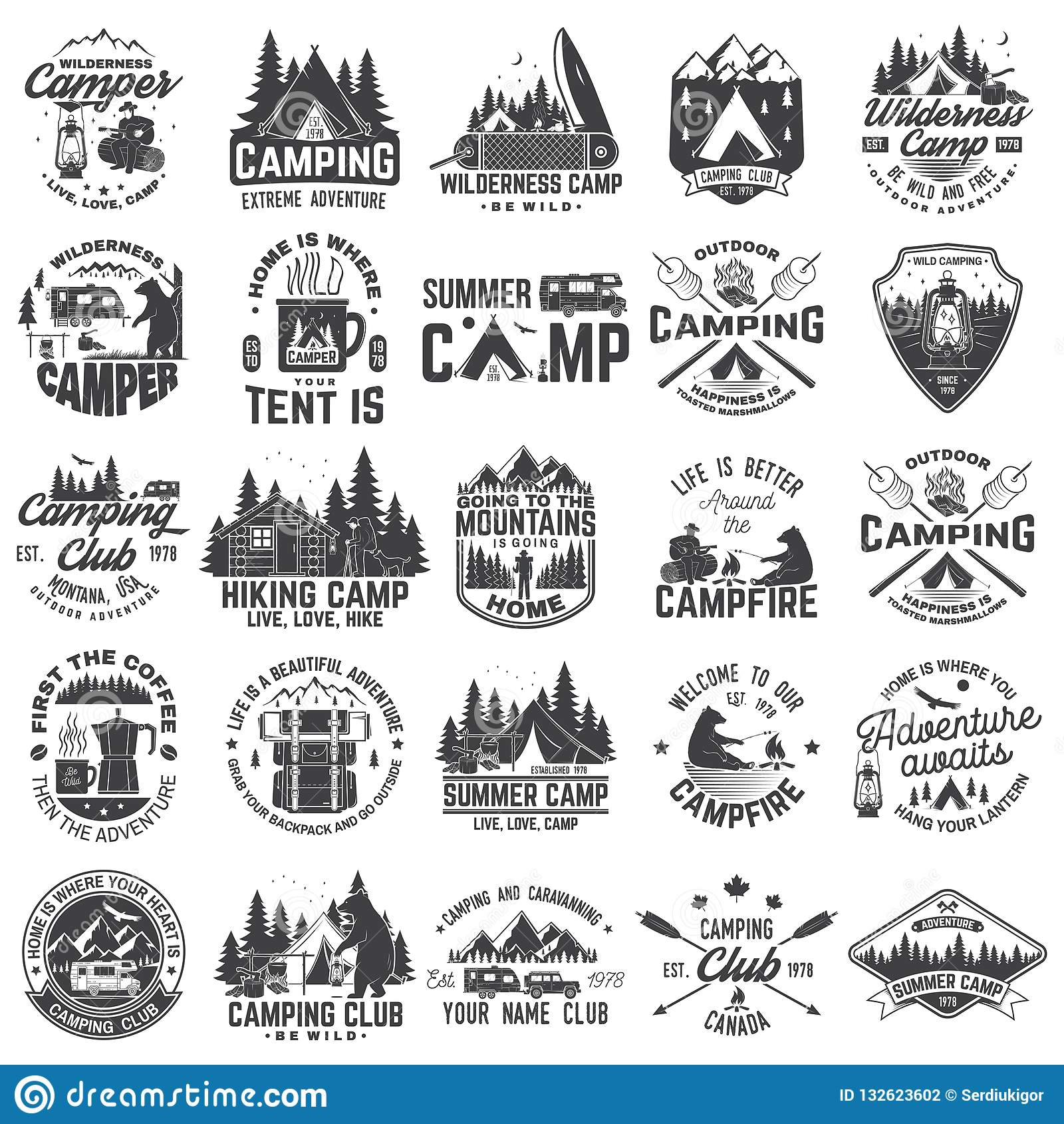 夏令营 向量 衬衣或补丁的,印刷品,邮票概念 葡萄酒与rv拖车,野营的帐篷的印刷术设计