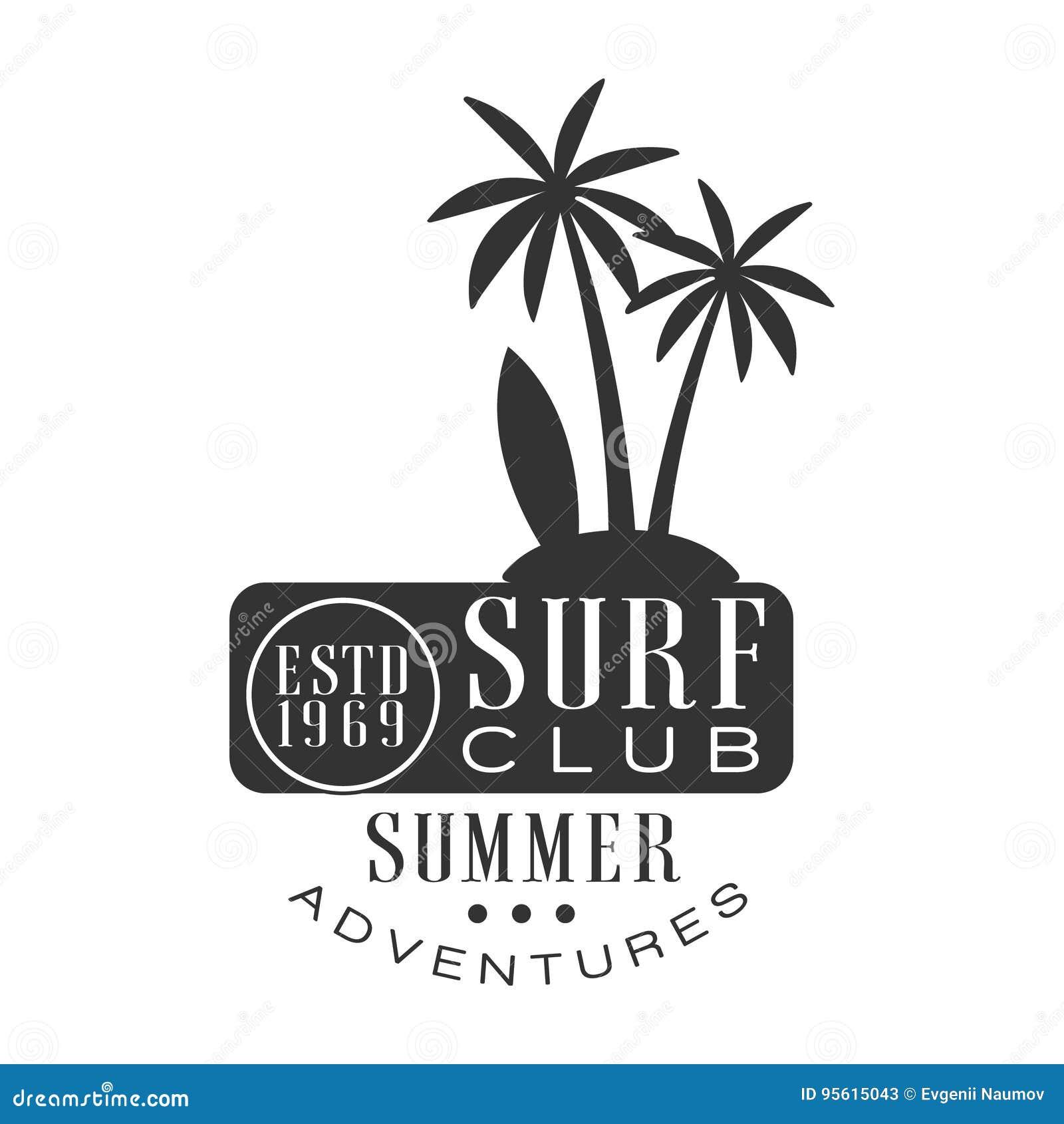 夏天冒险海浪俱乐部estd 1969年商标模板,黑白传染媒介例证