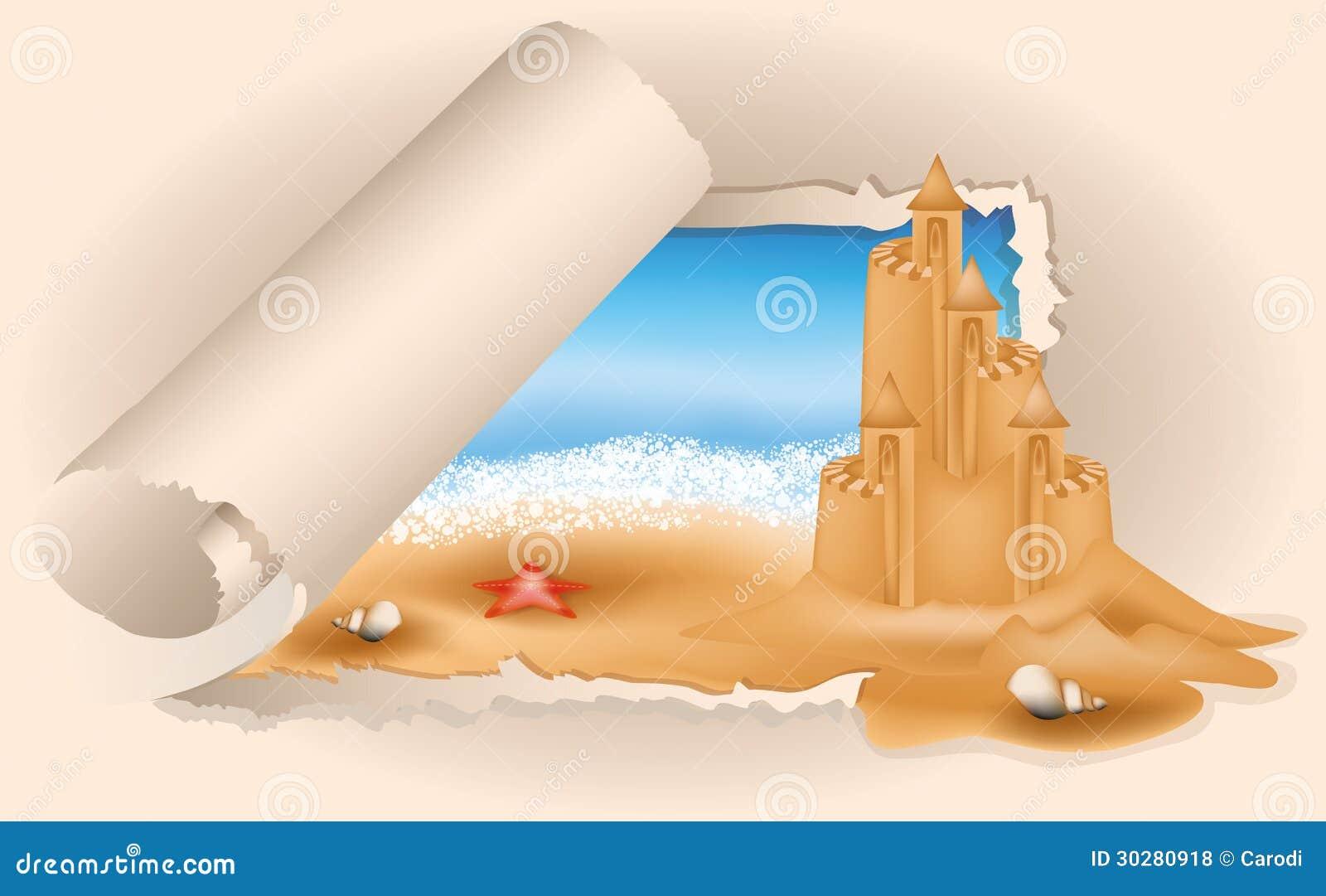 夏天卡片在海滩的沙子城堡