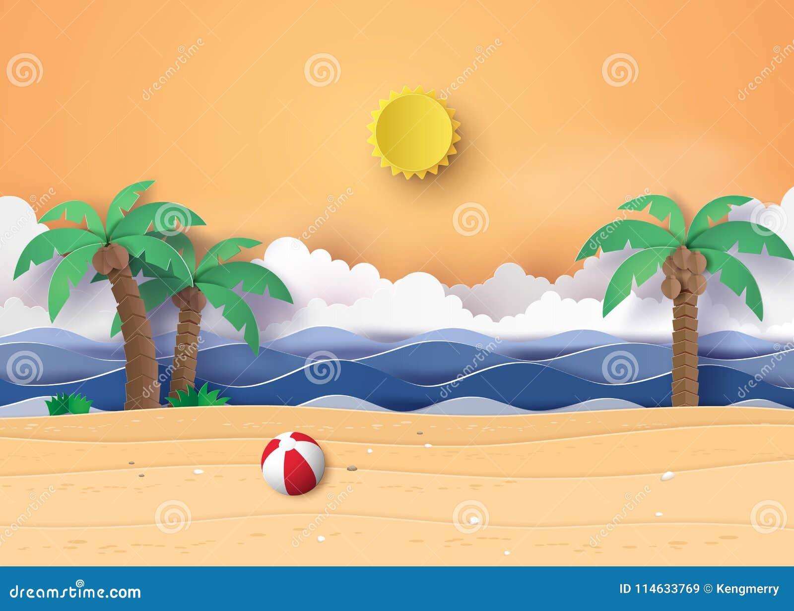 夏天在海滩的海滩和棕榈树