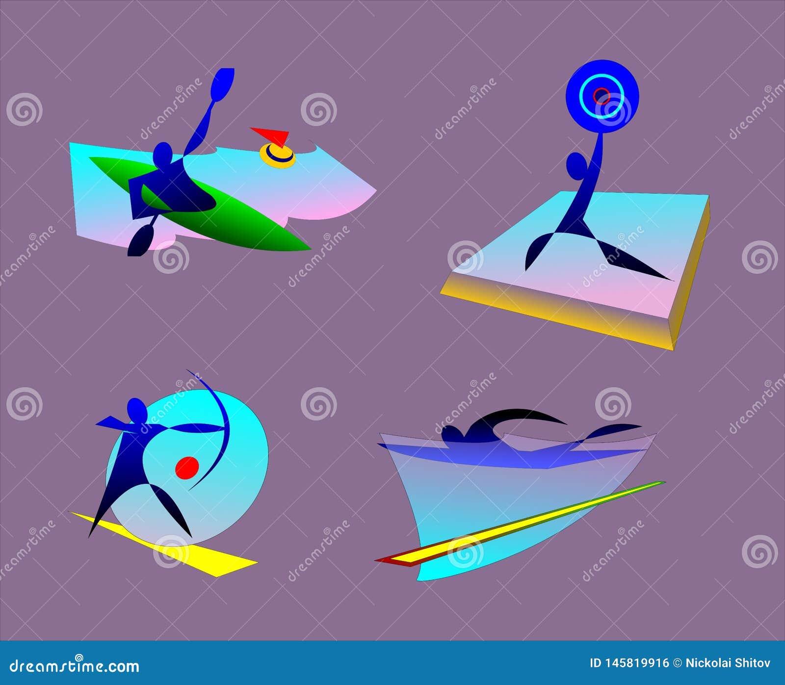 夏天奥林匹克体育bages  划皮船,举重,游泳,射箭