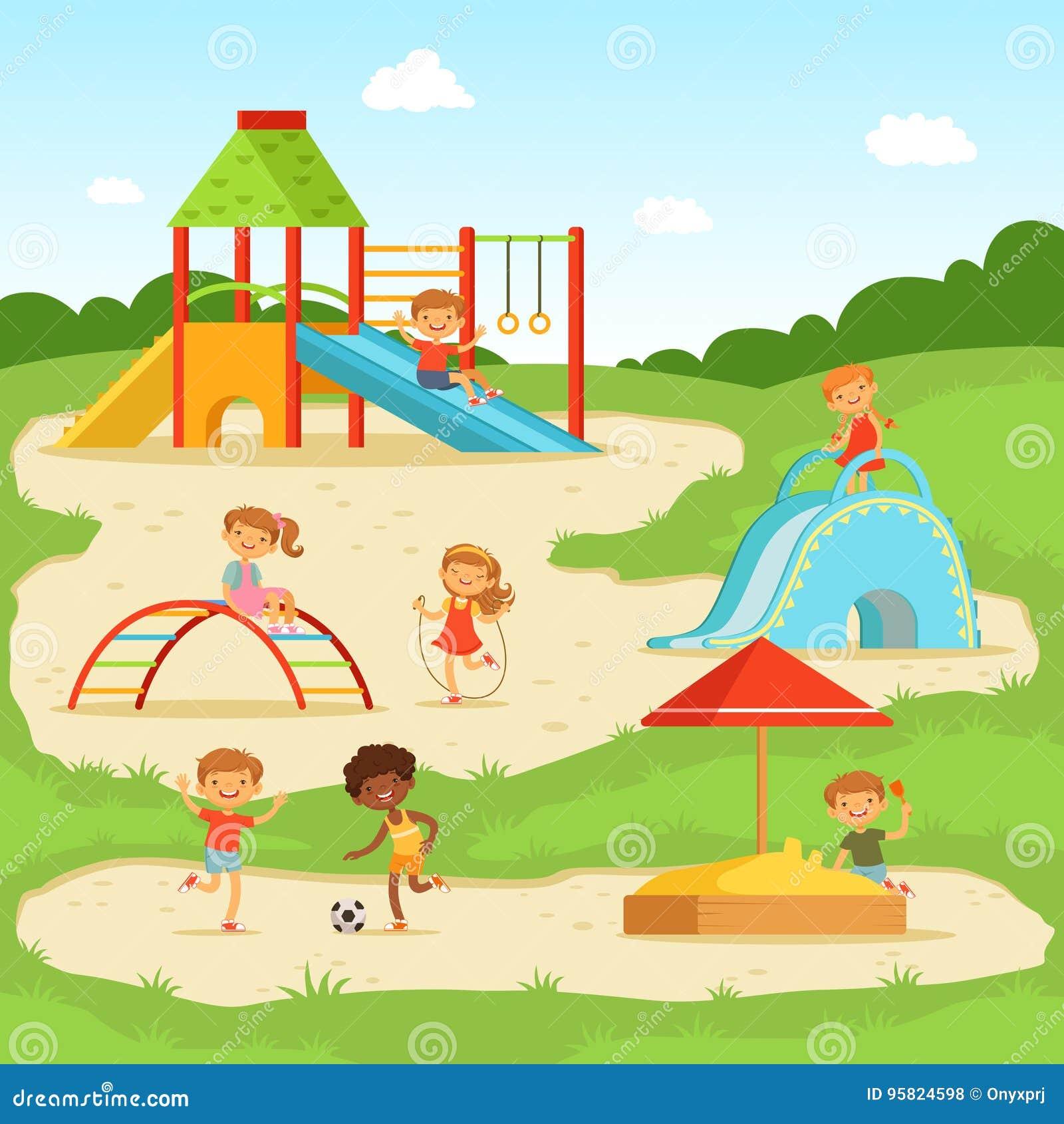夏天操场的滑稽的孩子 孩子公园使用 也corel凹道例证向量