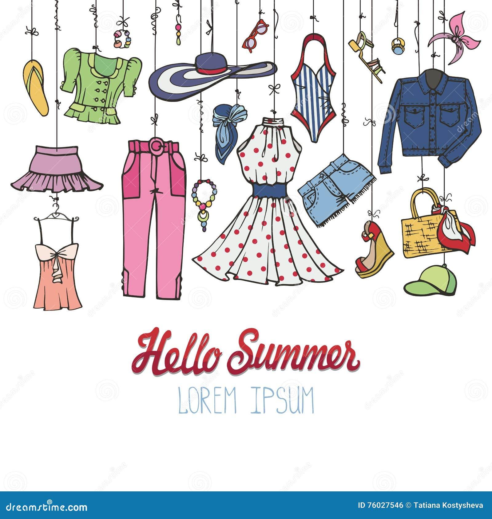 夏天时尚集合 垂悬在绳索的妇女五颜六色的穿戴