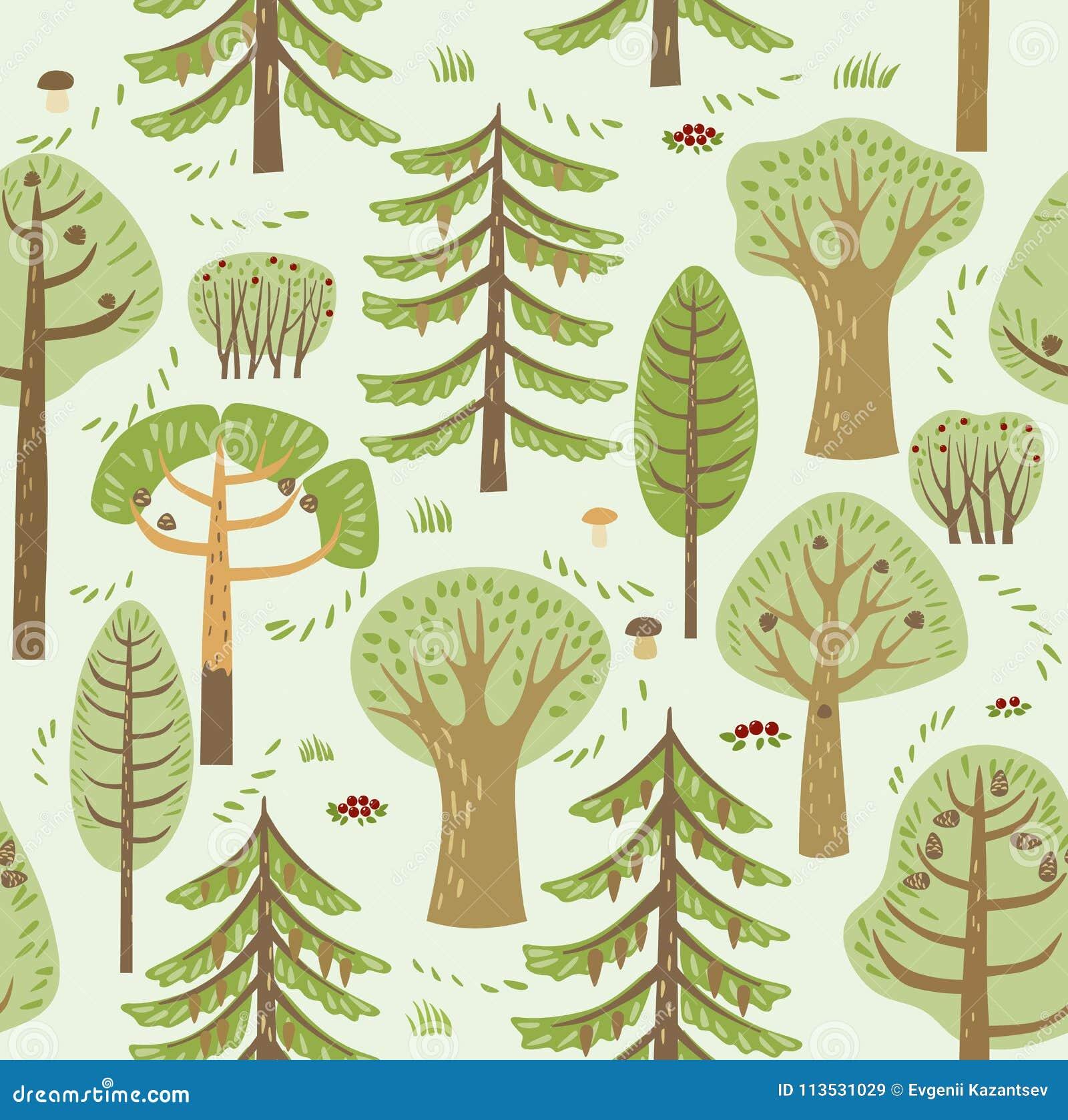 夏天森林具球果和落叶不同的树在绿色背景增长 在他们,蘑菇、莓果和灌木之间 S