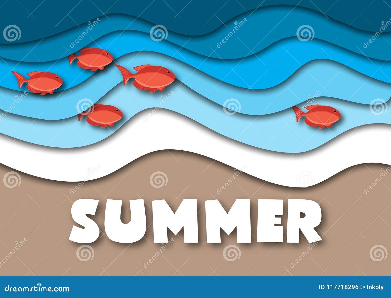 夏天横幅模板以A4格式,与海或海浪、热带沙子海滩、红色鱼和文本