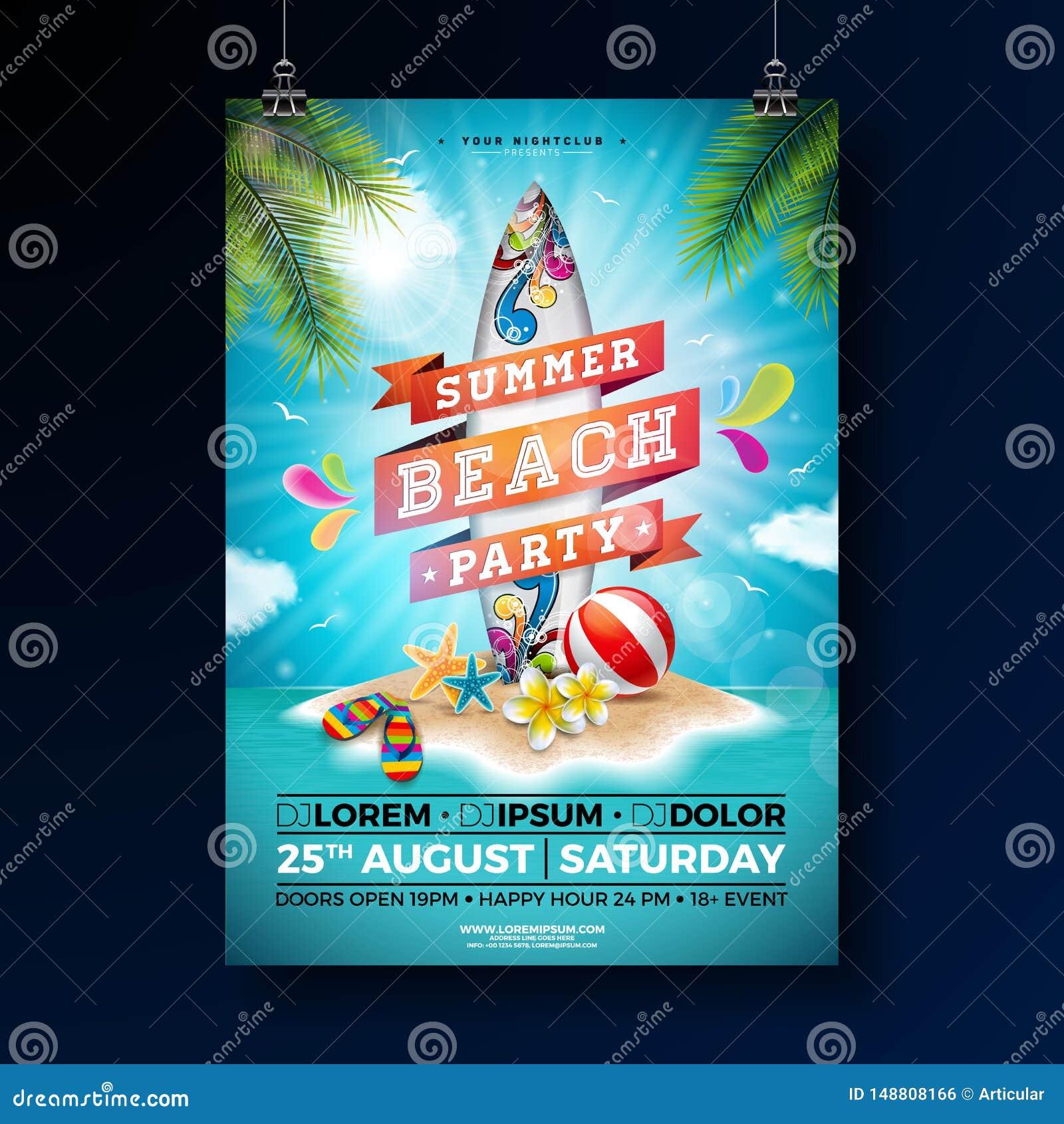 夏天海滩党与花、海滩球和水橇板的飞行物设计 传染媒介夏天自然花卉元素,热带