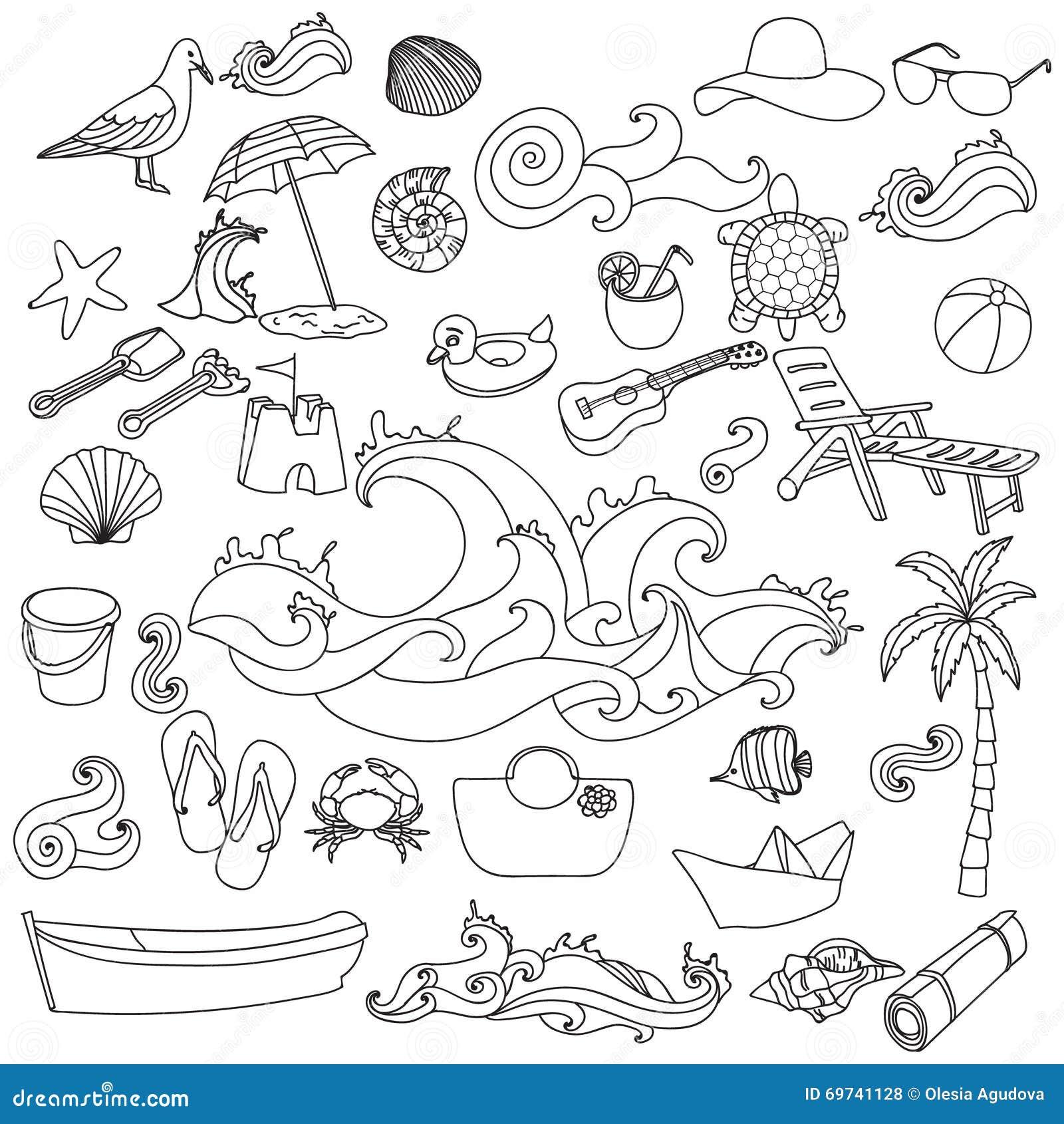 概略传染媒介手拉的乱画动画片套对象和标志在夏天靠岸 成人的着色页.图片
