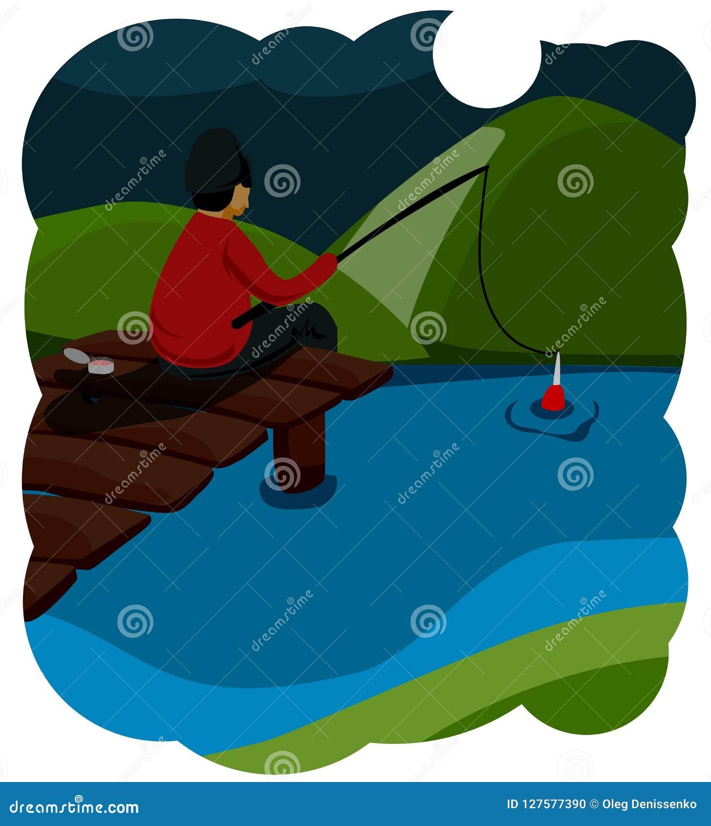 夏天渔 坐一个木桥,他的腿摇晃入水的青年渔夫和钓鱼 明亮的温暖的颜色 滑稽