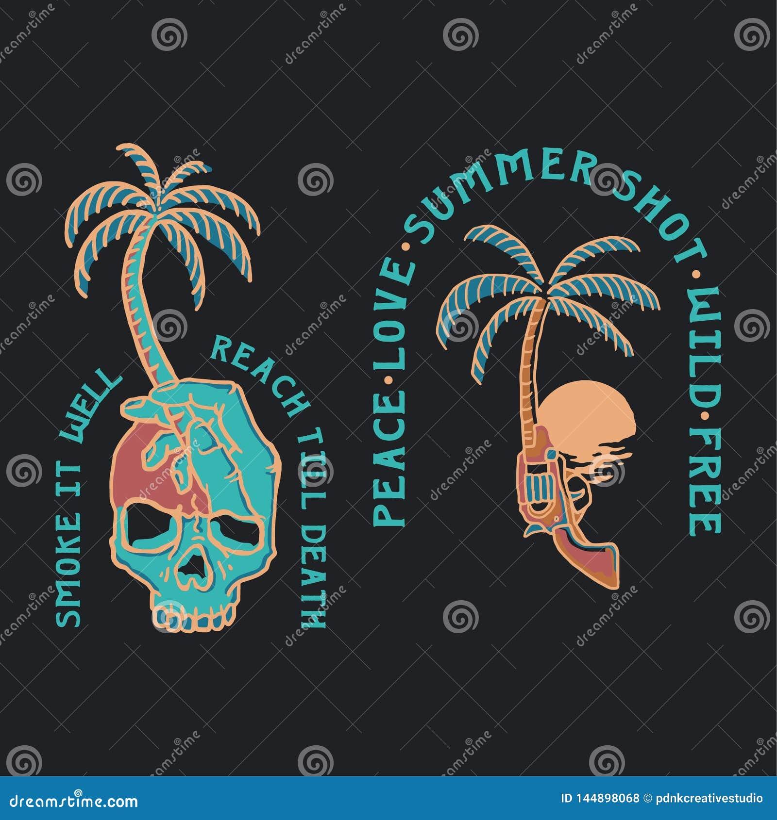 夏天热带例证的头骨和的枪